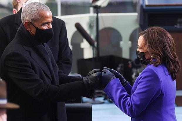 Barack Obama & Kamala Harris Fist Bump At Inauguration ...