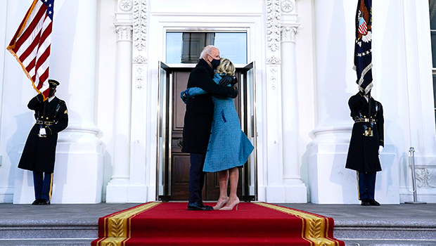 Joe & Jill Biden Kiss Outside White House & It's Refreshing After The Trumps' Cold PDA