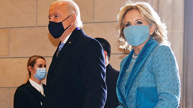 Dr. Jill Biden Looks Regal In Ocean Blue Tweed Coat & Dress For Inauguration: See Photo