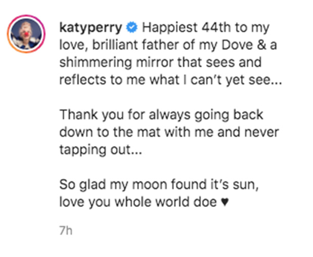 Instagram/Katy Perry