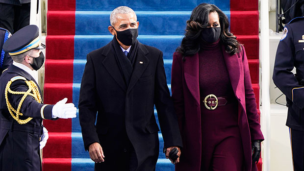 Michelle Obama Stuns In Long Maroon Coat & Matching Outfit At Presidential Inauguration
