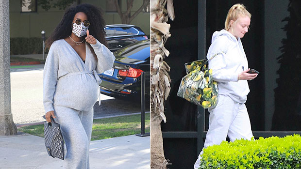 Pregnant Celebrity Moms Out In Sweats: See Pics Of Kelly Rowland, Sophie Turner, & 9 More