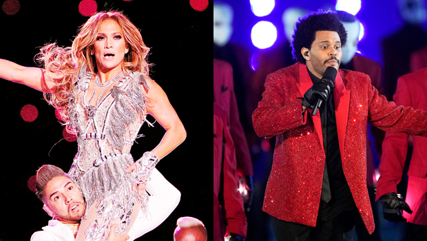 Jennifer Lopez & The Weeknd during their Super Bowl performances
