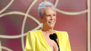 Jamie Lee Curtis Stuns In Plunging Yellow Dress At The Golden Globes & Makes Fans Want To Buy Activia Yogurt