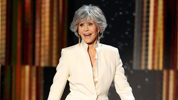 Jane Fonda Rocks Chic Cream Pant Suit To Accept The Golden Globes' Lifetime Achievement Award