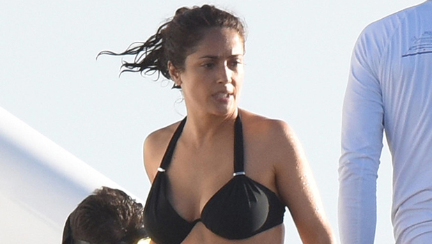 Salma Hayek in a black bikini