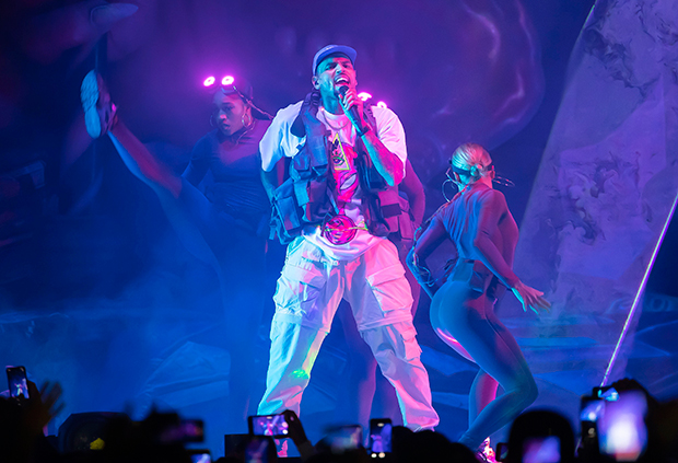 Chris Brown singing on stage