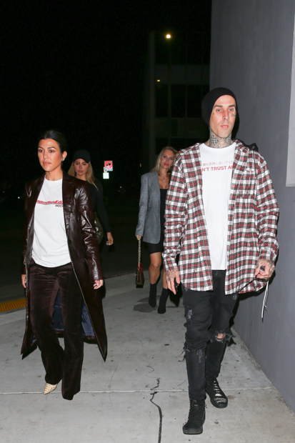 West Hollywood, CA - Kourtney Kardashain, Larsa Pippen, Travis Barker and Amanda Elise were seen arriving at Crossroads restaurant after church for dinner. Travis Barker was driving Kourtney Kardashian's Aston Martin. Pictured: Kourtney Kardashian, Travis Barker BACKGRID USA 7 NOVEMBER 2018 USA: +1 310 798 9111 / usasales@backgrid.com UK: +44 208 344 2007 / uksales@backgrid.com *UK Clients - Pictures Containing Children Please Pixelate Face Prior To Publication*