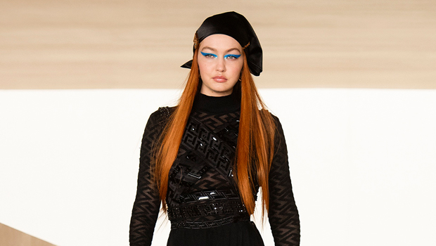 Gigi Hadid Returns To The Runway For 1st Time 5 Mos. After Giving Birth & Stuns In Sheer Black Dress