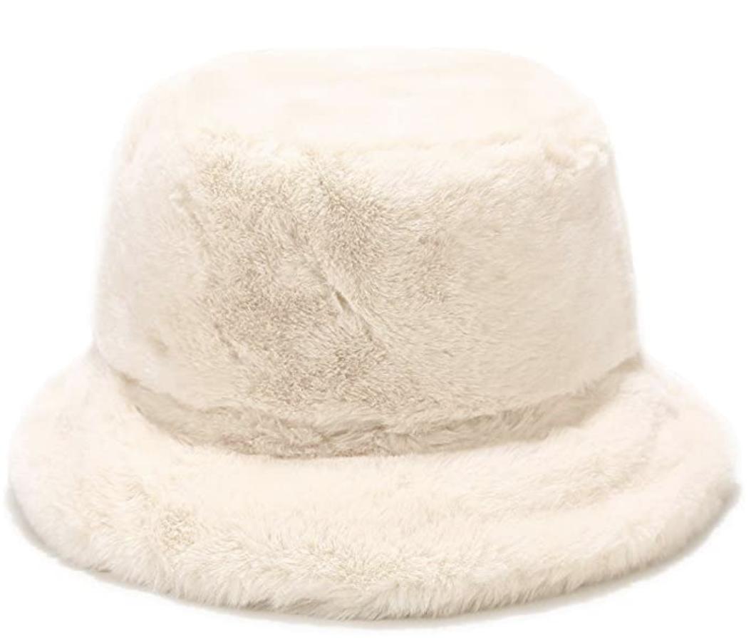 furry white bucket hat