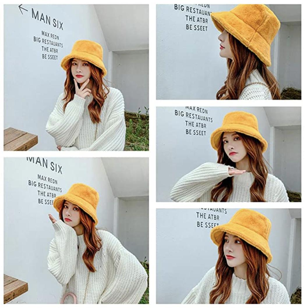 yellow furry bucket hat