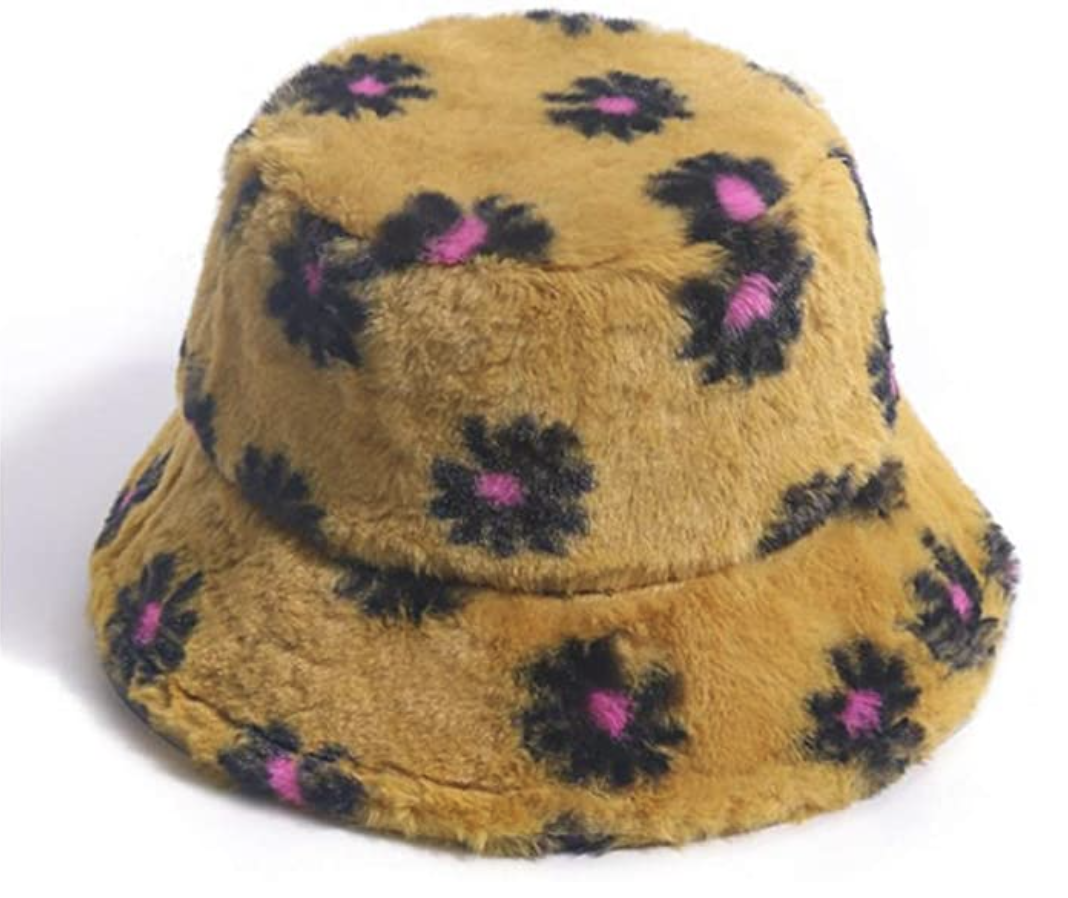 flower furry bucket hat