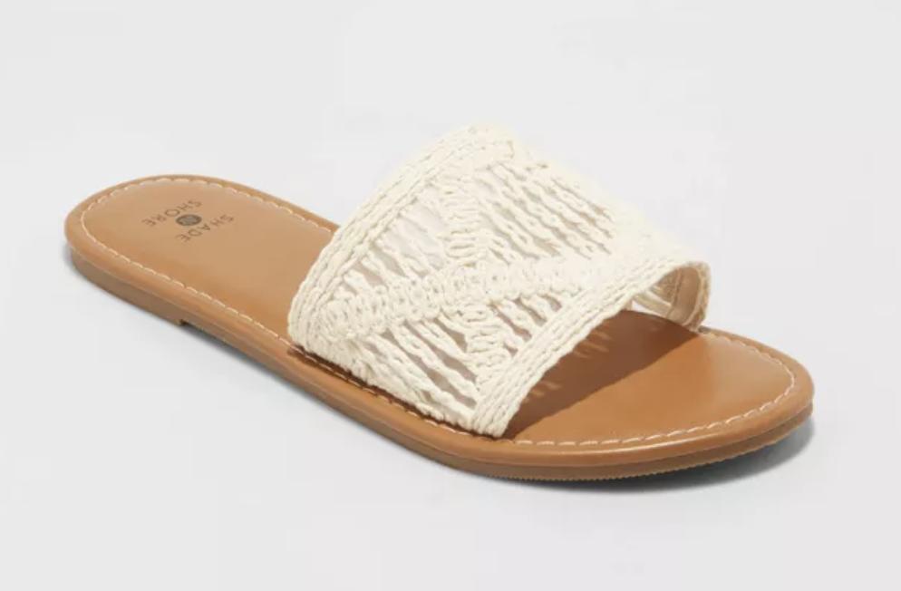crochet knit slide sandals