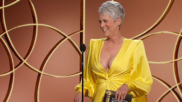 Jamie Lee Curtis Jokes About Her Plunging Golden Globes Gown: My Cleavage Is 'Back In The Stable'