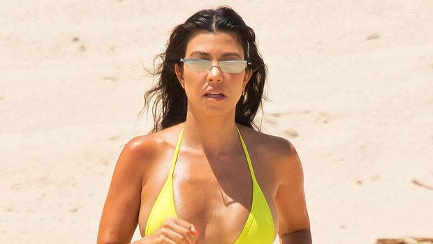 Kourtney Kardashian Looks Serene In Red Thong Bikini As Romance With Travis Barker Heats Up