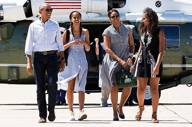 Michelle Barack Sasha Malia Obama