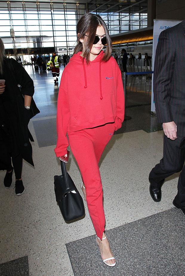 Selena Gomez in red tracksuit