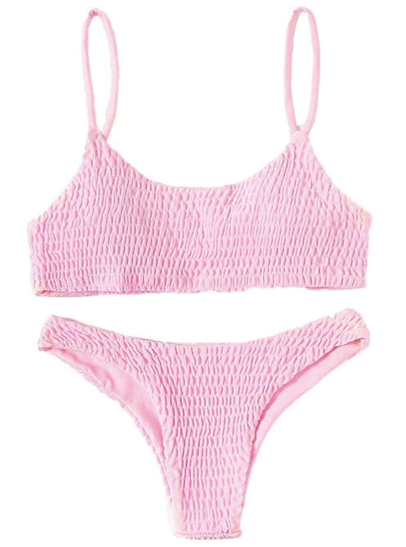 pink crinkle bikini