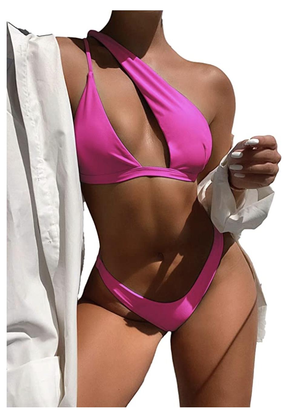 asymmetrical pink bikini