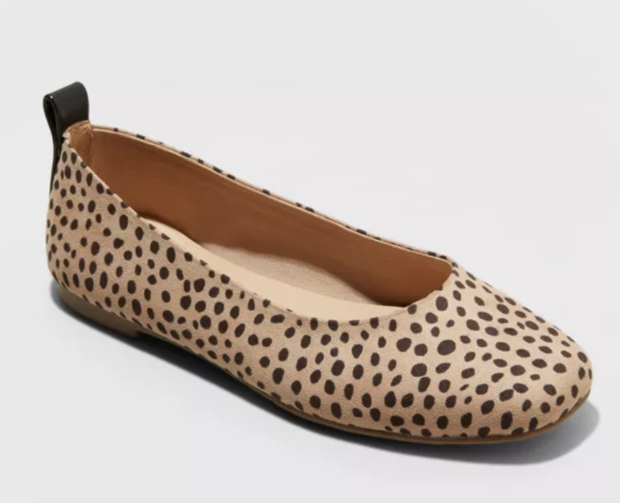spotted ballet flats