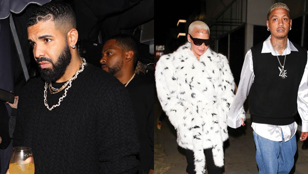 Kanye West's Ex Amber Rose Rubs Shoulders With His Nemesis Drake At LA Party – Pics