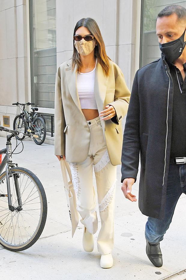 Kendall Jenner wearing an oversized blazer