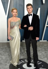 Scarlett Johansson, Colin Jost. Actor Scarlett Johansson, left, and fiancé Colin Jost arrive at the Vanity Fair Oscar Party, in Beverly Hills, Calif 92nd Academy Awards - Vanity Fair Oscar Party, Beverly Hills, USA - 09 Feb 2020