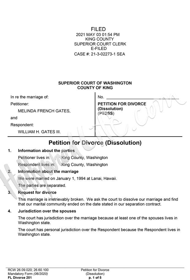 Bill Melinda Gates Divorce Docs