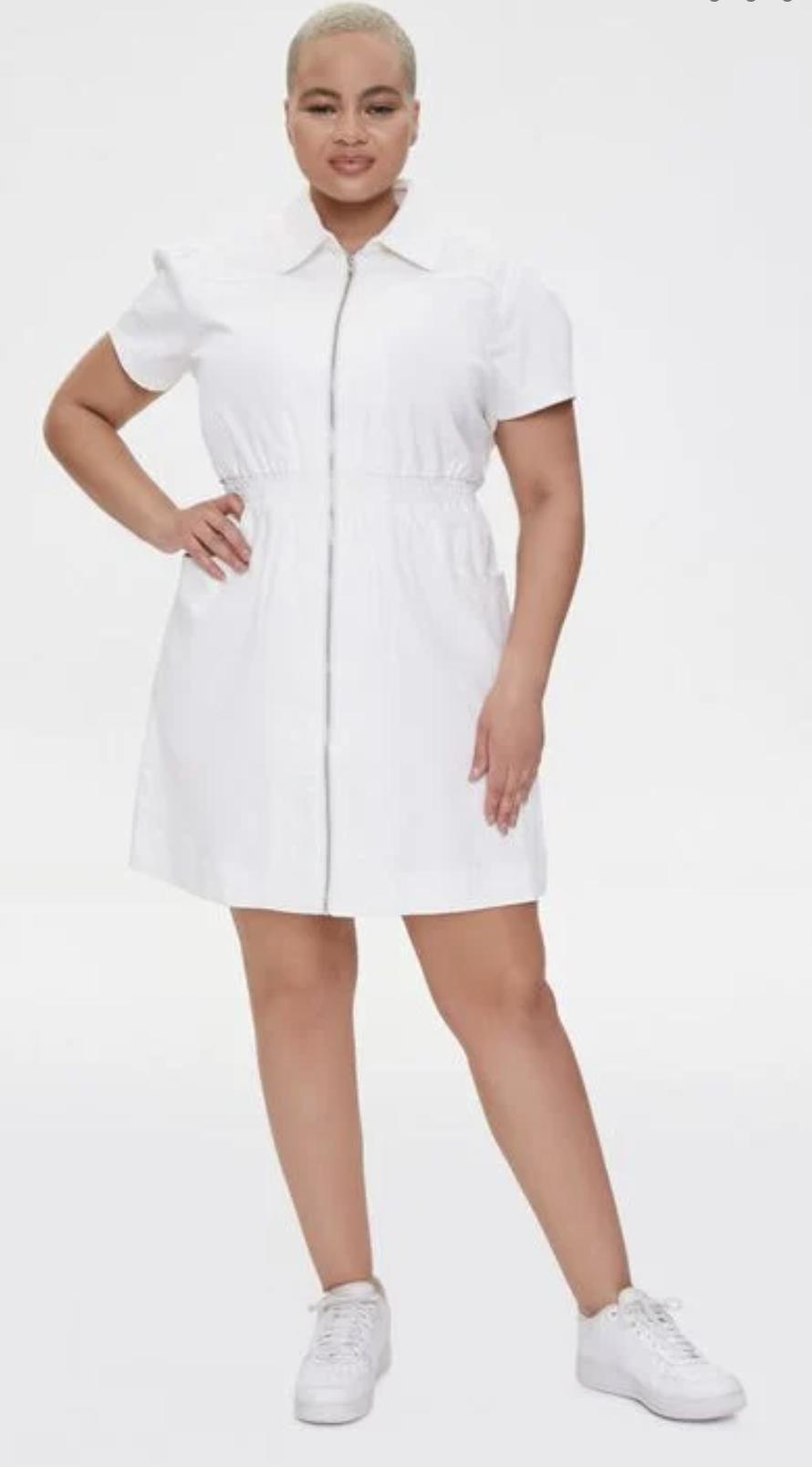 denim white mini dress
