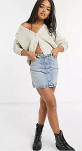button-up front denim skirt