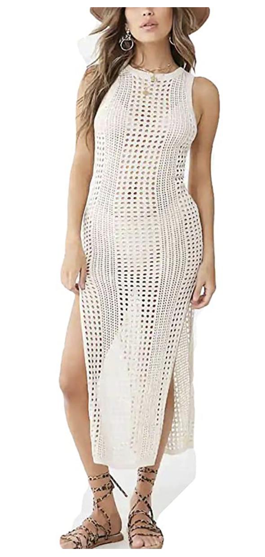 long crochet coverup dress