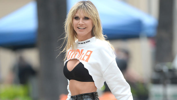 Heidi Klum Slays In Sexy Sheer Top & Matching Red Leather Pants For 'Jimmy Kimmel' Appearance.jpg