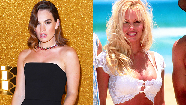 Lily James Wears Fake 34DD Breasts While Dressed As Pamela Anderson In New Set Pics.jpg