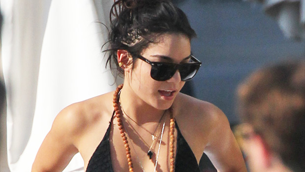 Vanessa Hudgens rocking a cut-out one piece swimsuit