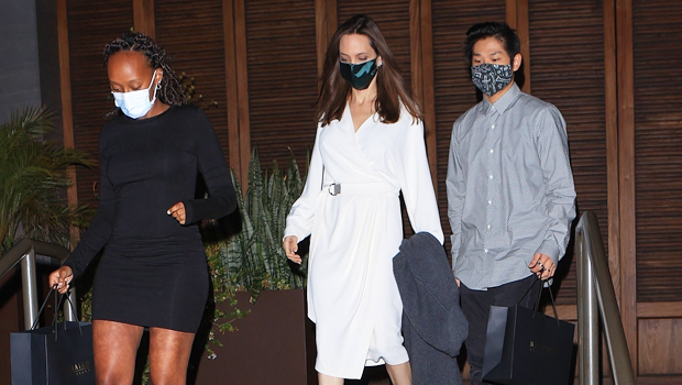 Angelina Jolie's Daughter Zahara, 16, & Son Pax, 17, Look So Tall On LA Dinner Date With Mom