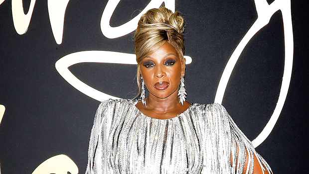 Mary J. Blige, 50, Looks Incredible In Silver Fringe Dress With Double Leg Slit