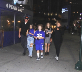 EXCLUSIVE: Matt Damon and family as they arrive to Harry Styles concert in New York City. Matt was all smiles as he treated his young guests to a night out to see the British rocker inside the World's Most Famous Arena. Some other guests were spotted walking with signs in the street and dressed in Harry attire. 04 Oct 2021 Pictured: Matt Damon and family. Photo credit: MEGA TheMegaAgency.com +1 888 505 6342 (Mega Agency TagID: MEGA793353_005.jpg) [Photo via Mega Agency]