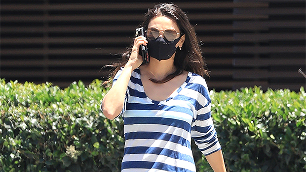 Mila Kunis Runs Errands In Daisy Dukes & Striped Shirt For A Cool & Casual Summer Look