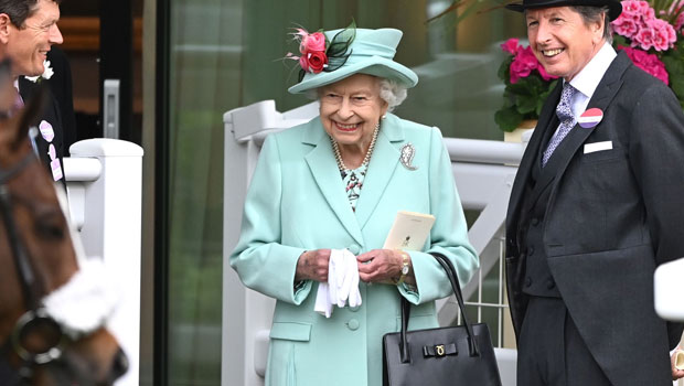 Queen Elizabeth, 95, Laughs & Smiles As She Arrives To Royal Ascot In Bright Turquoise Ensemble — See Pics