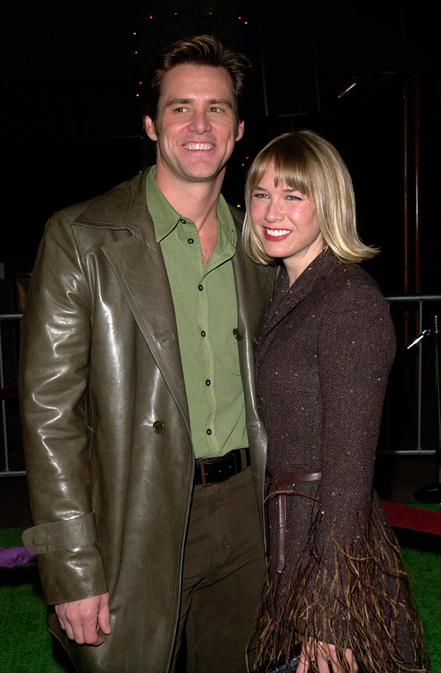 Actor JIM CARREY & actress girlfriend RENEE ZELLWEGER at the world premiere, at Universal City, of his new movie Dr. Seuss' How The Grinch Stole Christmas. 08NOV2000. Paul Smith / Featureflash; Shutterstock ID 99754361; purchase_order: Photo; job: medina