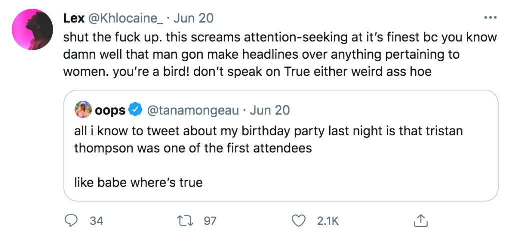 khloe kardashian likes shady tweet about tristan thompson