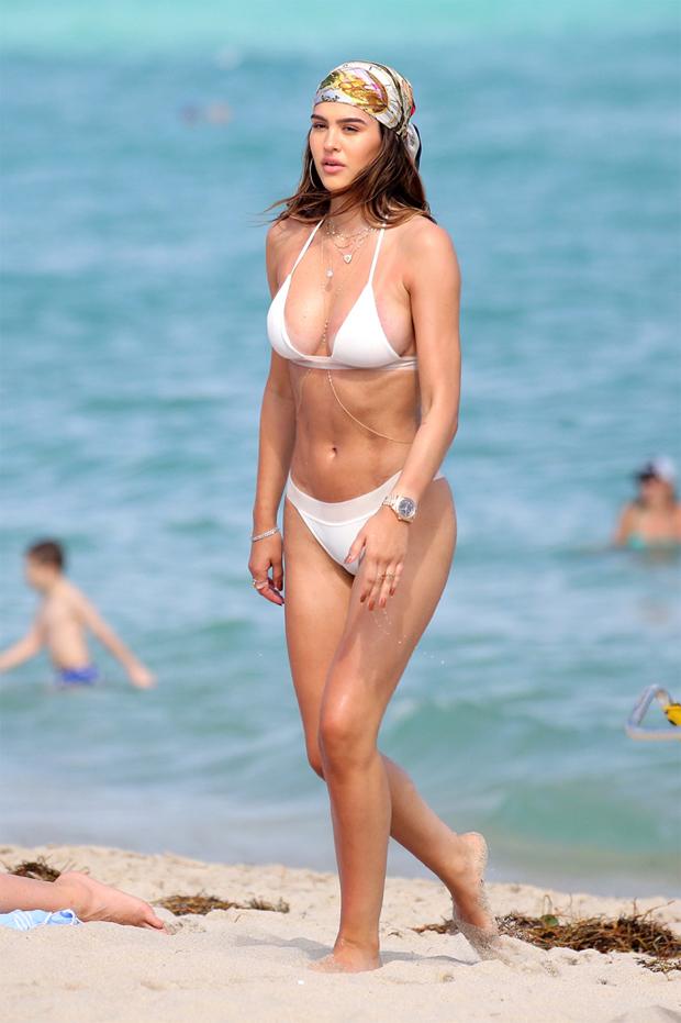 Amelia Hamlin in a white triangle bikini