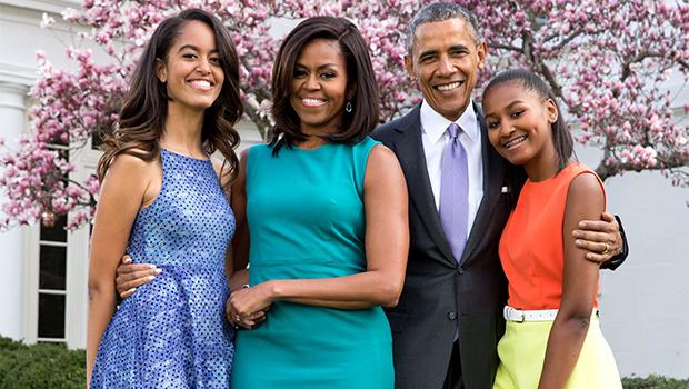 Obama, Sasha, Malia, Michelle