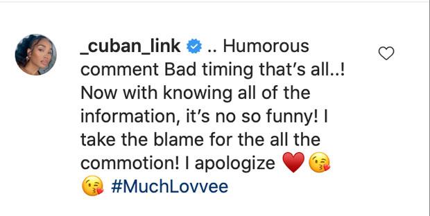 Cuban Link apology