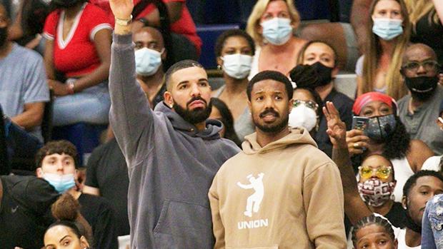 Drake & Michael B. Jordan Reunite At A Basketball Game After Grabbing Dinner Together