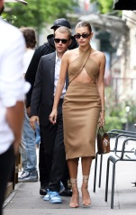 After being invited by President Macron at the Elysee Palace, Hailey Baldwin and Justin Bieber had lunch at the Dinand by Ferdi restaurant in Paris on June 21, 2021. 21 Jun 2021 Pictured: Hailey Baldwin and Justin Bieber. Photo credit: KCS Presse / MEGA TheMegaAgency.com +1 888 505 6342 (Mega Agency TagID: MEGA764117_015.jpg) [Photo via Mega Agency]