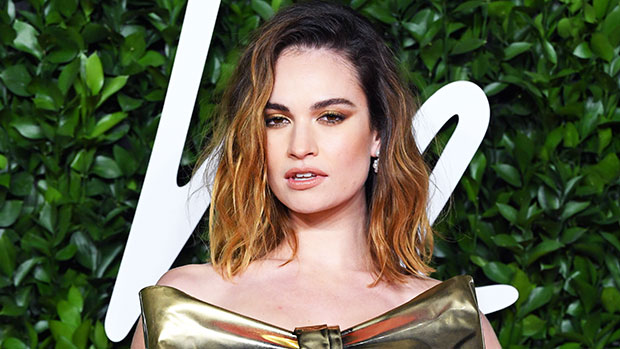 Lily James Channels Pamela Anderson With Iconic Messy Up-Do & Metallic Lamé Mini Dress.jpg