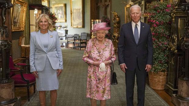 Queen Elizabeth Is Regal In Pink Dress As She Hosts Joe & Jill Biden For Tea At Windsor Castle — Pics