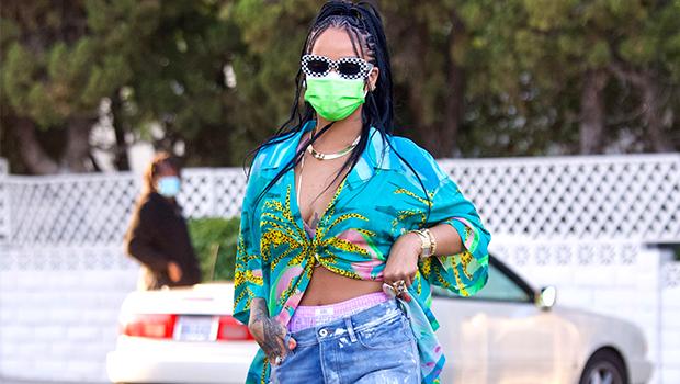 Rihanna Wears Denim Mini Skirt As She Flirts For The Camera While Promoting Fenty Gloss Bomb Heat – Photo
