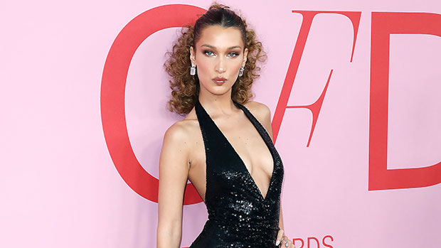 Bella Hadid Rocks Plunging Sequined Dress & Blows Kisses To The Camera In Sexy Photos.jpg